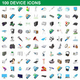 100 device icons set, cartoon style Royalty Free Stock Images