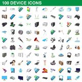 100 device icons set, cartoon style. 100 device icons set in cartoon style for any design illustration stock illustration