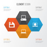 Device Icons Set. Collection Of Laptop, Diskette, Monitor And Other Elements. Also Includes Symbols Such As Monitor Stock Photography