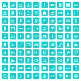 100 device app icons set grunge blue. 100 device icons set in grunge style blue color isolated on white background vector illustration Stock Photo