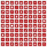 100 device app icons set grunge red. 100 device icons set in grunge style red color isolated on white background vector illustration Stock Images