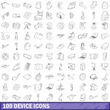 100 device icons set, outline style. 100 device icons set in outline style for any design vector illustration Royalty Free Stock Photos