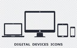 Device icons set: smartphone, tablet, laptop and desktop computer. Vector illustration of responsive web design. Device icons set: smartphone, tablet, laptop stock illustration