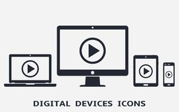 Device icons: smart phone, tablet, laptop and desktop computer with play button on screen. Vector illustration of responsive web design Stock Image