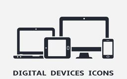 Device icons: smart phone, tablet, laptop and desktop computer. Responsive web design. stock illustration