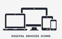 Device icons: smart phone, tablet, laptop and desktop computer. Vector illustration of responsive web design. Stock Images