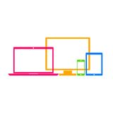 Device Icons: smartphone, tablet, laptop and desktop computer. Colorful device icons in flat style isolated on white background. Vector Illustration Stock Photo