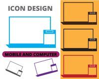 mobile and computer icon design flat style different colors stock illustration