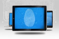 Device Identity Check. Tablet Computer with Fingerprint Screen Check. Identity Check Software Royalty Free Stock Photography