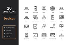 20 Device Line Icons. High Quality 20 Line device icons. Icons for office, businnes, web and interfaces Vector Illustration