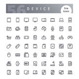 Device Line Icons Set. Set of 56 device line icons suitable for web, infographics and apps. Isolated on white background. Clipping paths included vector illustration