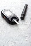 Device for measuring blood sugar Stock Photo