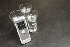 Device for measuring the degree of intoxication.  Stock Photo