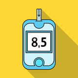 A device for measuring the level of blood sugar.Equipping the patient with diabetes.Diabetes single icon in flat style Stock Images