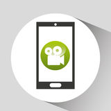 Device mobile icon movie social media graphic Stock Image