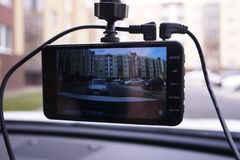 A device for monitoring the situation on the road. Installed in the car. Details and close-up royalty free stock image