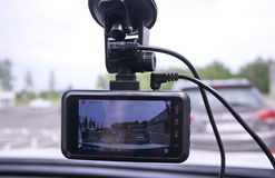 A device for monitoring the situation on the road. Installed in the car. Details and close-up stock photos