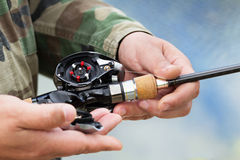 Device the multiplier fishing reel Stock Image