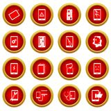 Device repair symbols icon red circle set Royalty Free Stock Image