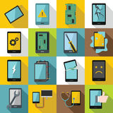 Device repair symbols icons set, flat style. Device repair symbols icons set. Flat illustration of 16 device repair symbols vector icons for web Royalty Free Stock Photography