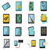 Device repair symbols icons set in flat style Royalty Free Stock Photography