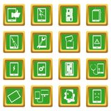 Device repair symbols icons set green Stock Photo