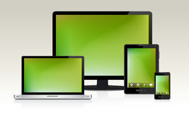 Device Set. Detailed illustration of multiple devices with green blank screens. Easy  with layers Royalty Free Stock Photography