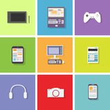 Device set color icon flat dsign vector. Illustration royalty free illustration