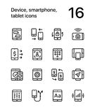 Device, smartphone, tablet icons for web and mobile design pack 2. 16 line black and white vector icons Royalty Free Stock Photo