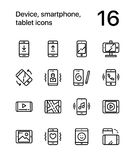 Device, smartphone, tablet icons for web and mobile design pack 1. 16 line black and white vector icons Stock Image