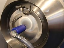 Device stainless steel meat processing. Slow rotation movement stock video