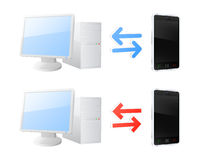 Device synchronization icons Stock Image