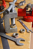 Device for threading into the nut Stock Photo