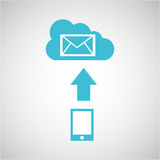 Device transfer cloud email envelope Stock Image
