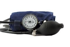 Device used to check the blood-pressure isolated. On white stock photos
