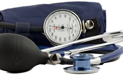 Device used to check the blood-pressure isolated Royalty Free Stock Image