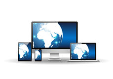 Devices with blue earth globe Stock Images
