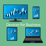 Devices for Business, flat design Royalty Free Stock Image