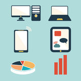 devices , computer and business icons set Stock Images