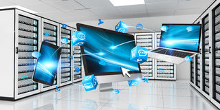 Devices connected on server room data center 3D rendering Royalty Free Stock Photos