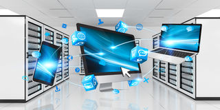 Devices connected on server room data center 3D rendering Stock Photography