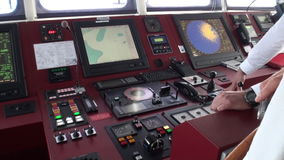 Devices of control ship in captain cabin. Closeup. Wilderness. Extreme tourism and travel in the cold polar north. Scenic coastline and blue water stock video