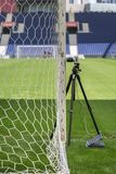 Devices and Equipments for New Goal Post Line Technologies in Em. Pty Soccer Stadium Royalty Free Stock Photography