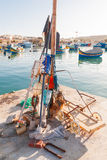 Devices for fishing. Early winter morning in Marsaxlokk, Malta. Royalty Free Stock Images