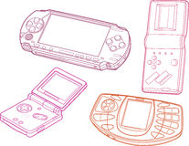 Devices vector illustration. Gaming device in line art style for print or web design Royalty Free Stock Photos