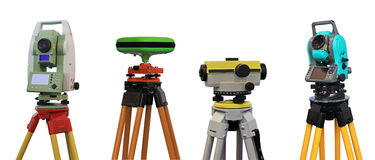Devices for a geodesy. Collection of devices for a geodesy and cartography Royalty Free Stock Photos