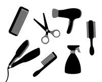 Devices for hair care stock illustration