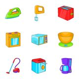 Devices for home icons set, cartoon style Royalty Free Stock Photos