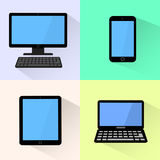 Devices icon. Black computer, laptop, tablet and smartphone. Royalty Free Stock Photo