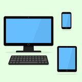 Devices icon. Black laptop, tablet and smart phone. Stock Photo